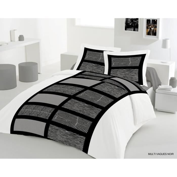 lovely home parure de couette multi vagues 1 housse de couette 200x200 cm 2 taies 65x65 cm. Black Bedroom Furniture Sets. Home Design Ideas