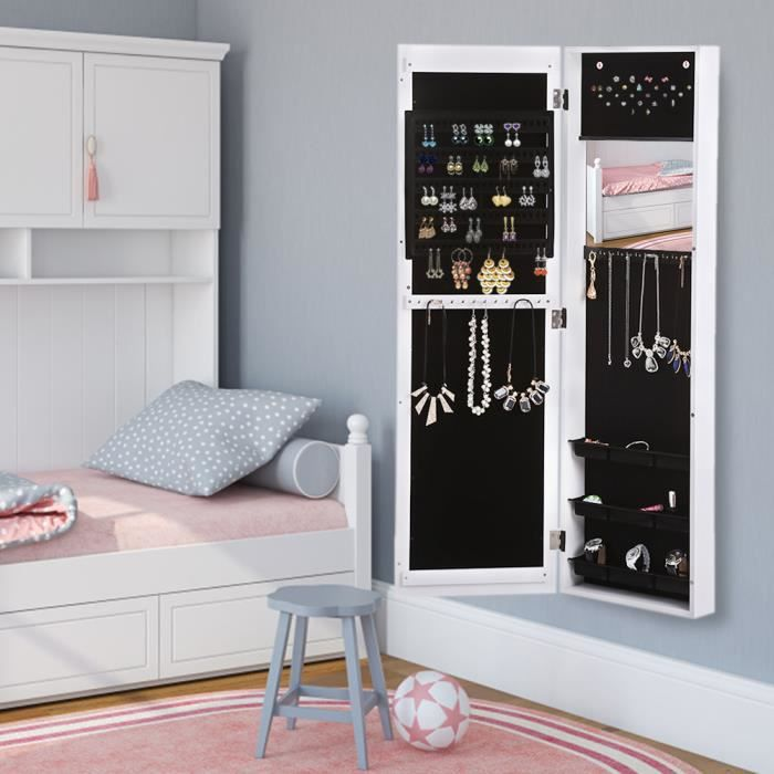 ikayaa armoire bijoux accroch sur mur ou porte avec miroir de chambre blanc 120 2 35 5 8. Black Bedroom Furniture Sets. Home Design Ideas