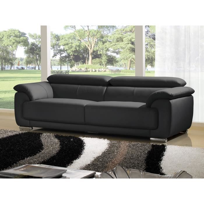 Canap luxe marjorie 3 places cuir noir design achat vente canap sofa - But canape cuir 3 places ...