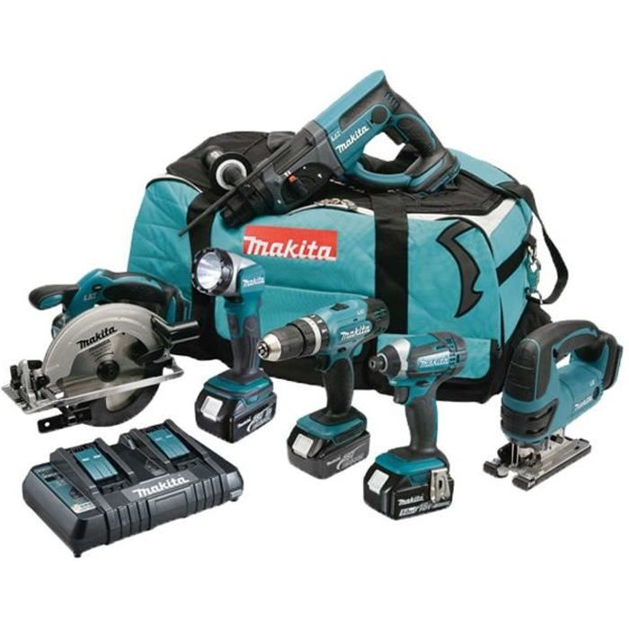 Makita Pack 6 Machines Dlx6068pt Avec 3 Batteries 18v 5ah Li Ion Sac De Transport Et Chargeur Dc18rd