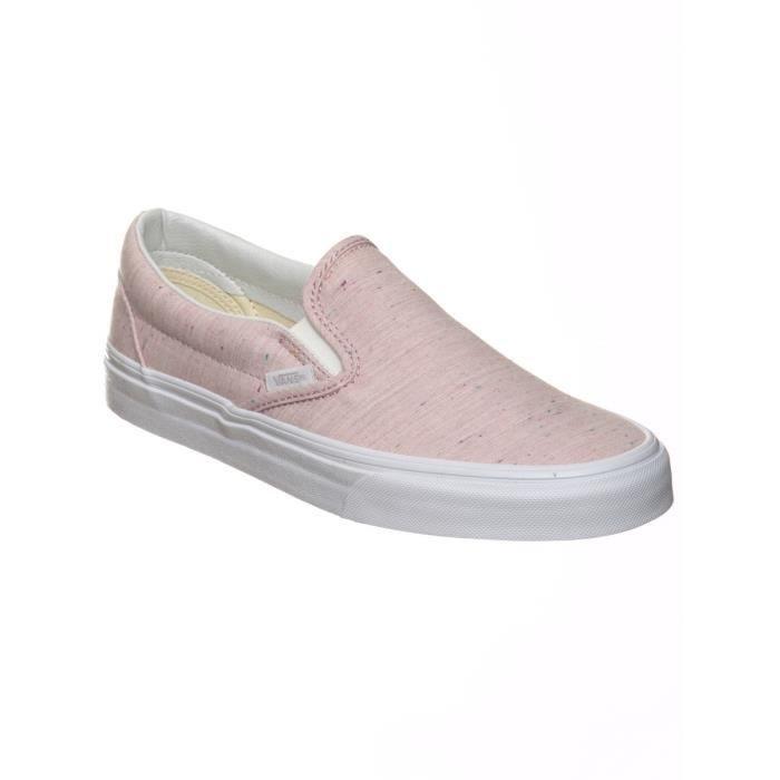 Chaussures Slip-on Femme Vans Classic Speckle Jersey-Rose-True ...