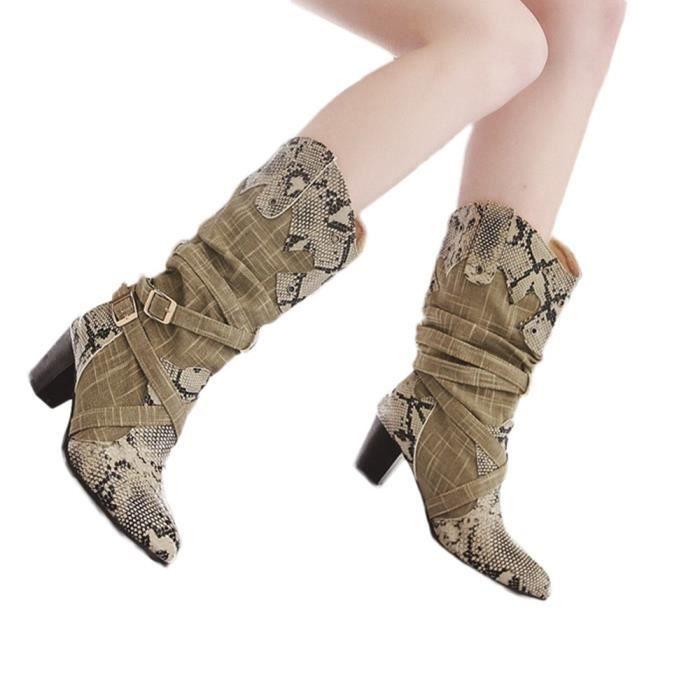 Bottes Beige Serpent Femme Mi Talons Mode Chaussures D'hiver Pointu Bout WD29EHYI