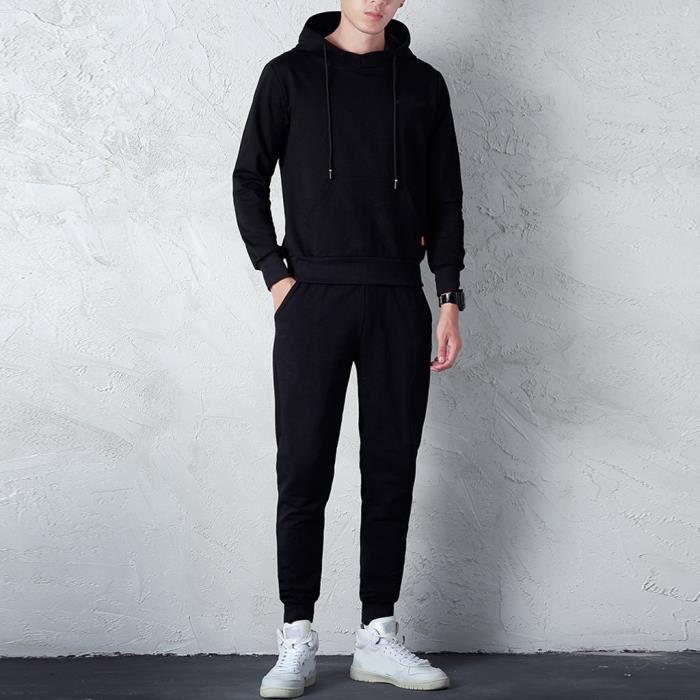 Ensemble de vêtements Pure Color Hommes Automne Hiver Sweat Top Pantalon