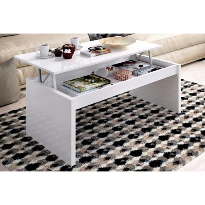 TABLE BASSE Table basse à plateau relevable coloris blanc bril