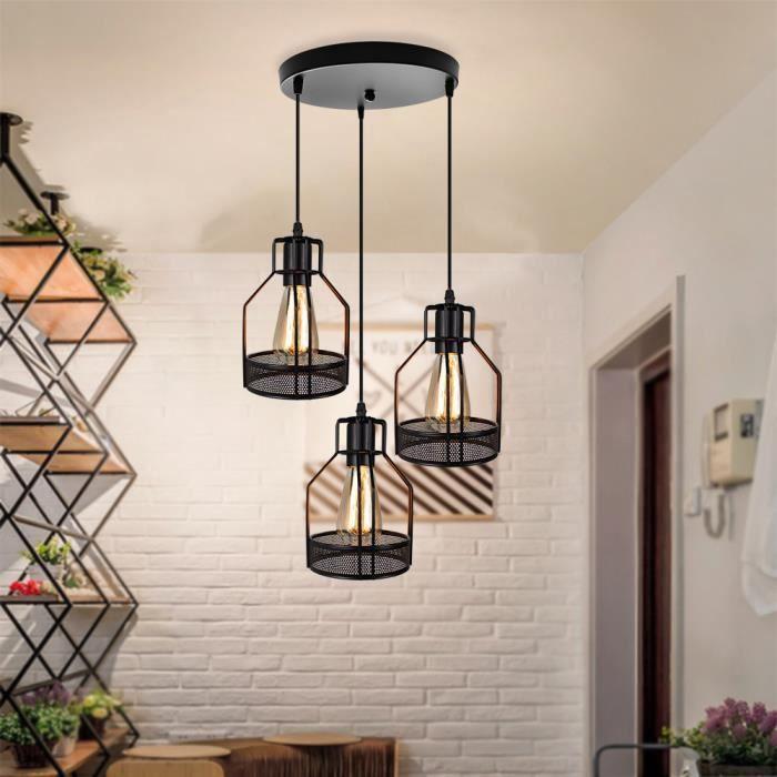 Frideko Abat-jour cage /à oiseaux en m/étal noir de style vintage industriel pour suspensions et appliques murales