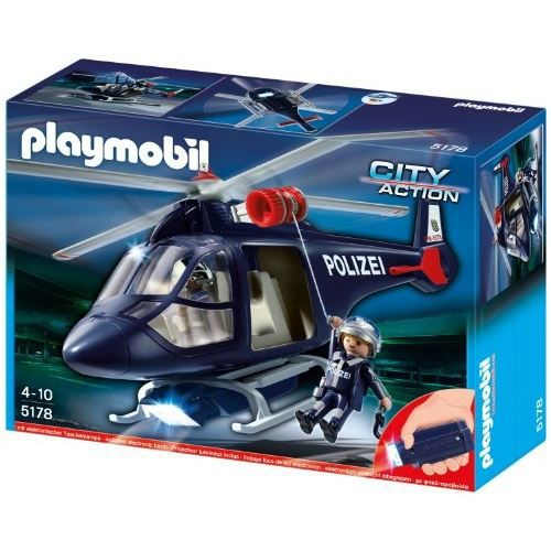 figurine personnage playmobil 5178 police helicopter with led sea