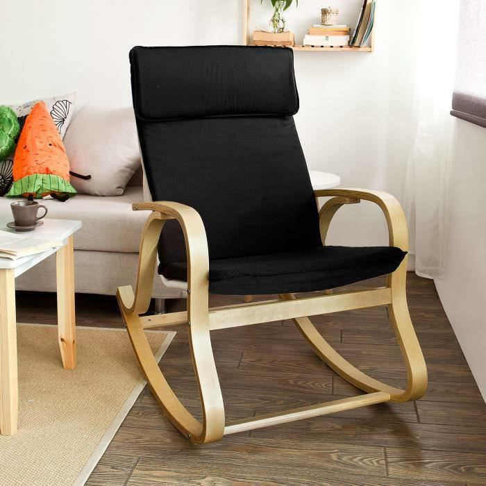 sobuy fst15 sch rocking chair fauteuil bascule fauteuil ber ant fauteuil relax bouleau. Black Bedroom Furniture Sets. Home Design Ideas