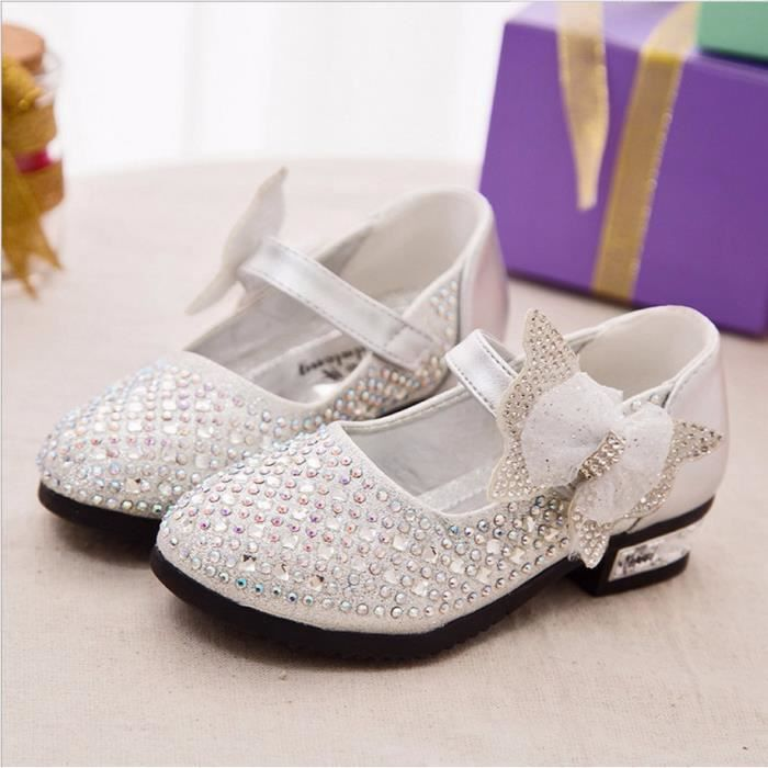 Filles Mode enfants Chaussures Chaussures en cuir strass Glitter Chaussures enfants Princesse taille 26-36 MxiSBzFW