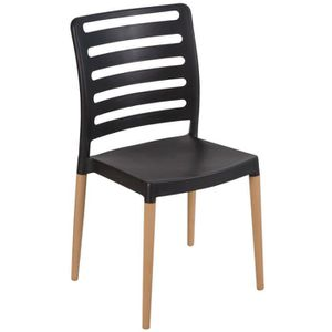 FAUTEUIL JARDIN  Lot 40 chaises en résine polypropylène noire et pi