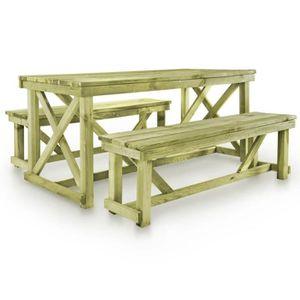 Ensemble table et chaise de jardin Ensemble de mobilier d'extérieur 3 pcs Bois FSC
