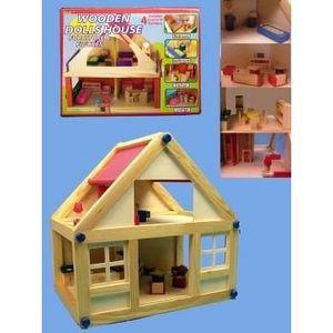 MAISON POUPÉE Maison de poupées en bois avec meubles et personna