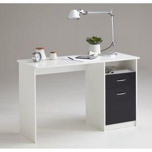 BUREAU  Bureau en bois coloris blanc - noir avec 1 tirois