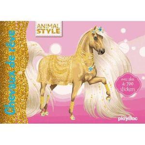 LIVRE 0-3 ANS ÉVEIL Livre - animal style - stickers - chevaux de rêve