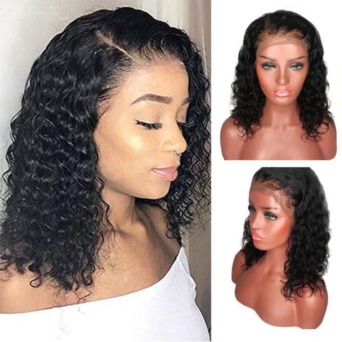 Perruques Lace Natural Wave Brésilien cheveux humains courte perruque ondulée dentelle perruques avant