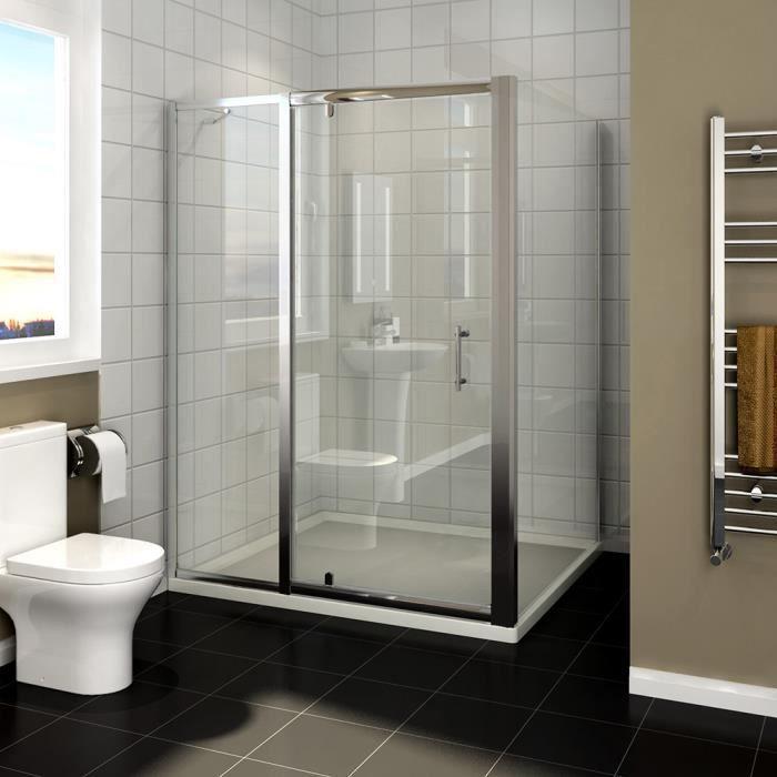 SIRHONA 100x76x185 cm Charnière pivotante pour porte de douche Porte de cabine de douche avec panneau latéral