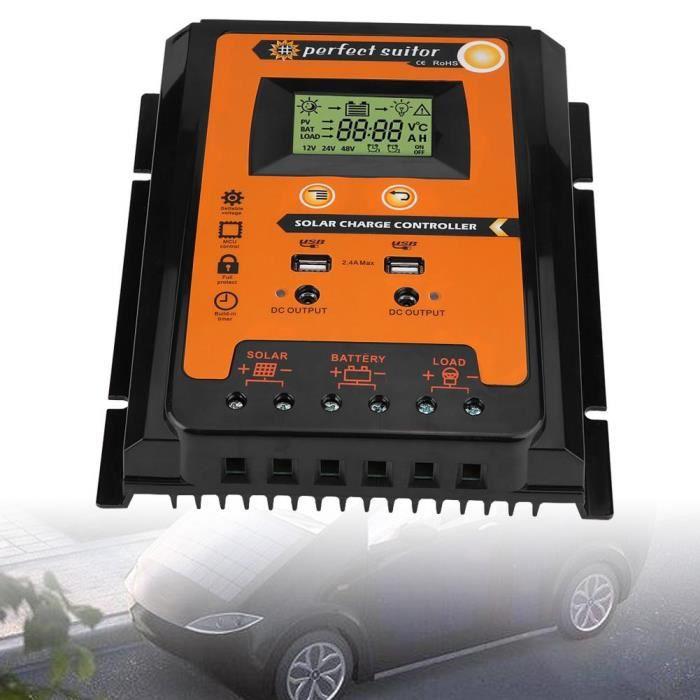 Contrôleur de charge solaire 12V / 24V 70A MPPT Régulateur de batterie de panneau solaire Double affichage LCD USB