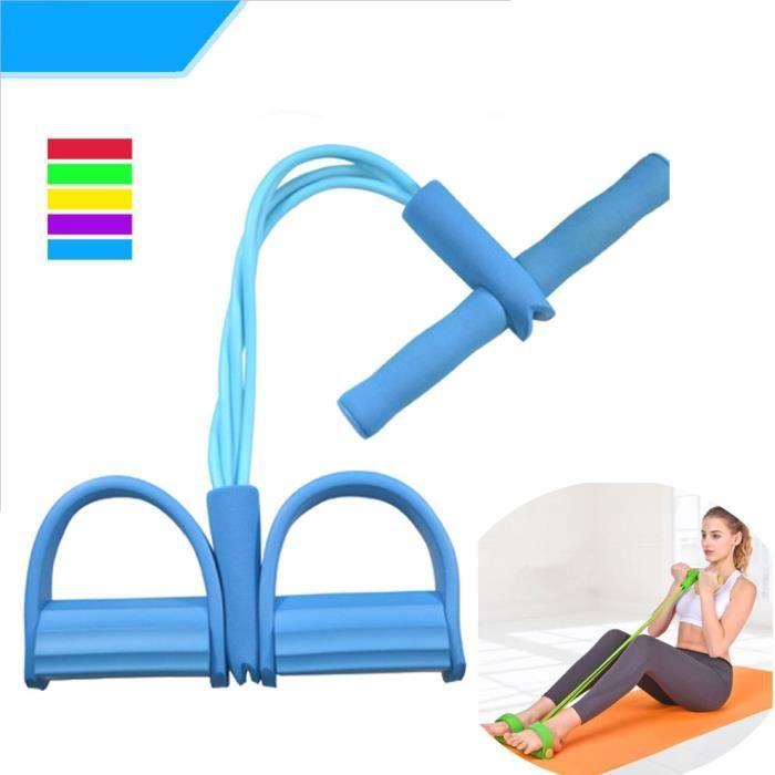 Appareil de gym 4 avec repose-pieds pour exercice - Rameur avec élastique Bleu