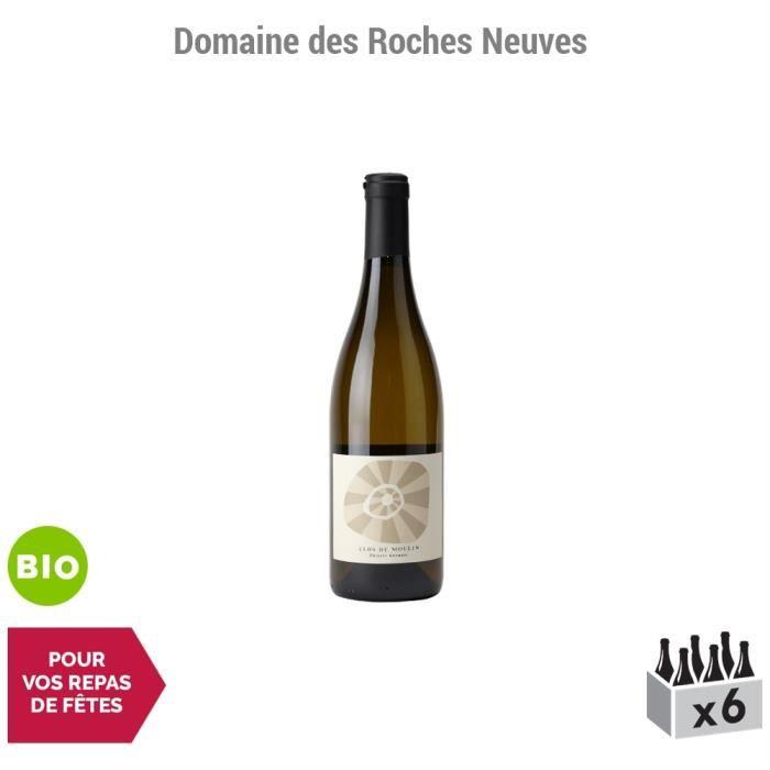 Saumur Le Clos du Moulin Blanc 2015 - Bio - Lot de 6x75cl - Domaine des Roches Neuves - Vin AOC Blanc du Val de Loire - Cépage