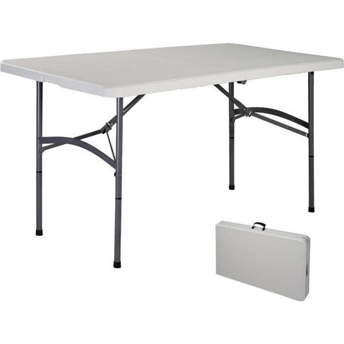 COSTWAY Table de Camping Portable Table de Jardin Pliable 150 x 72 x 74 CM Blanche Imperméable en Plastique Robuste