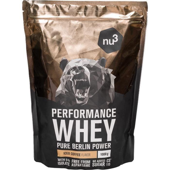 nu3 Whey Protein performance - 1kg Café Glacé – 33 portions de Shake pr de masse musculaire rapide à préparer - Excellente solu311