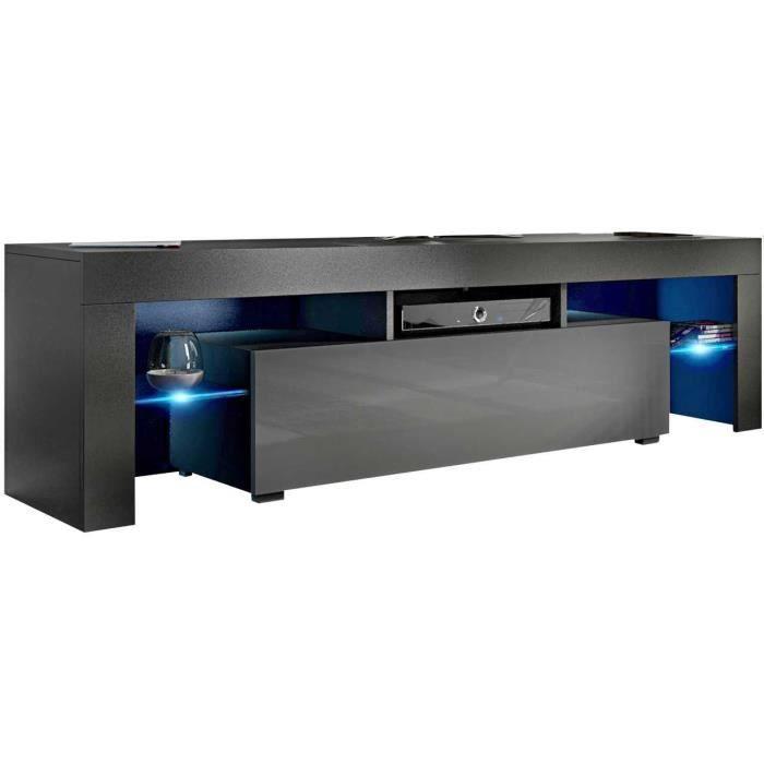 Meuble tv 160 cm noir mat / gris brillant + led rgb