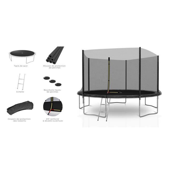 Trampoline extérieur Deluxe 12Ft / ø366cm KAIA SPORTS avec accessoires - Noir