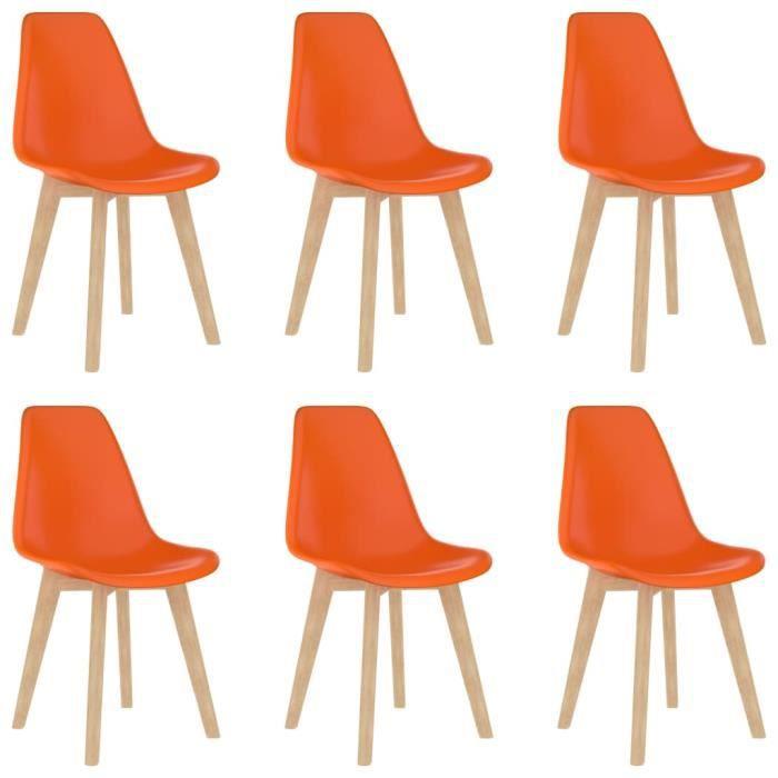 Luxueux Lot de 6 Chaises de salle à manger Design Moderne Ensemble de chaises Chaise de salon Orange Plastique ♫43657