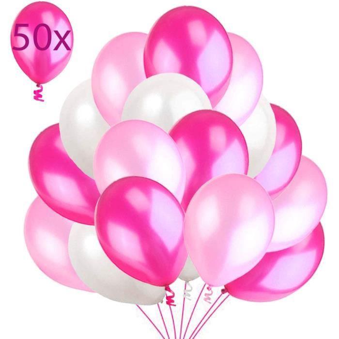 50 Ballons Rose Blanc Fuchsia. Ballons de Baudruche Rose Perlé Nacré. Ballons d'Anniversaire Gonflables 36cm - 3.2 g Décorati 14