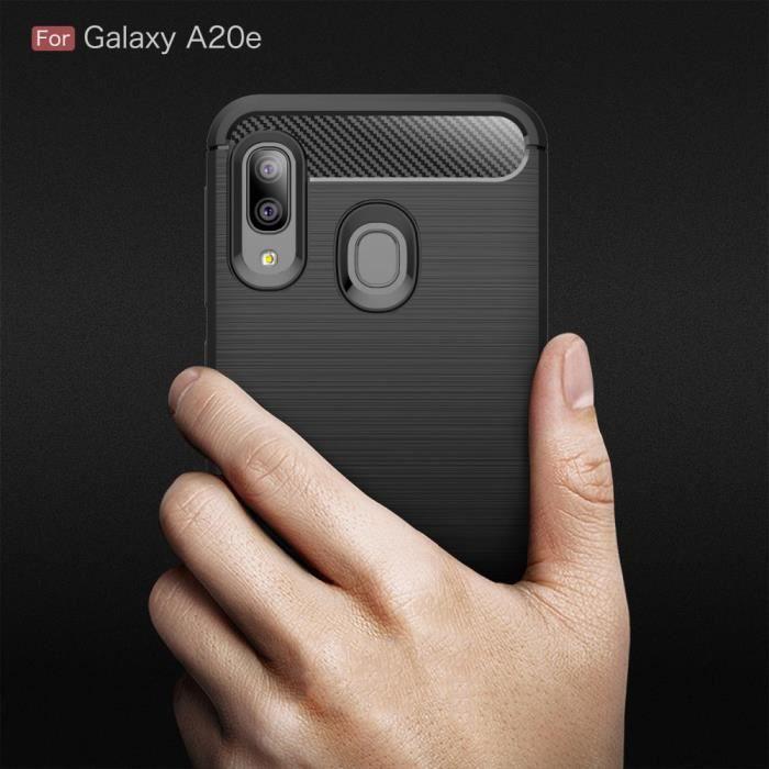 Samsung Galaxy A20e Carbone Noir Coque Housse Etui En Silicone Gel Souple hfs-house®