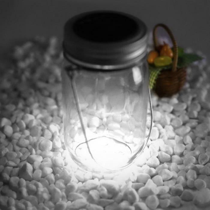 4 LED lampe solaire blanc bocal en verre avec poignée de trajet extérieure jardin décoration