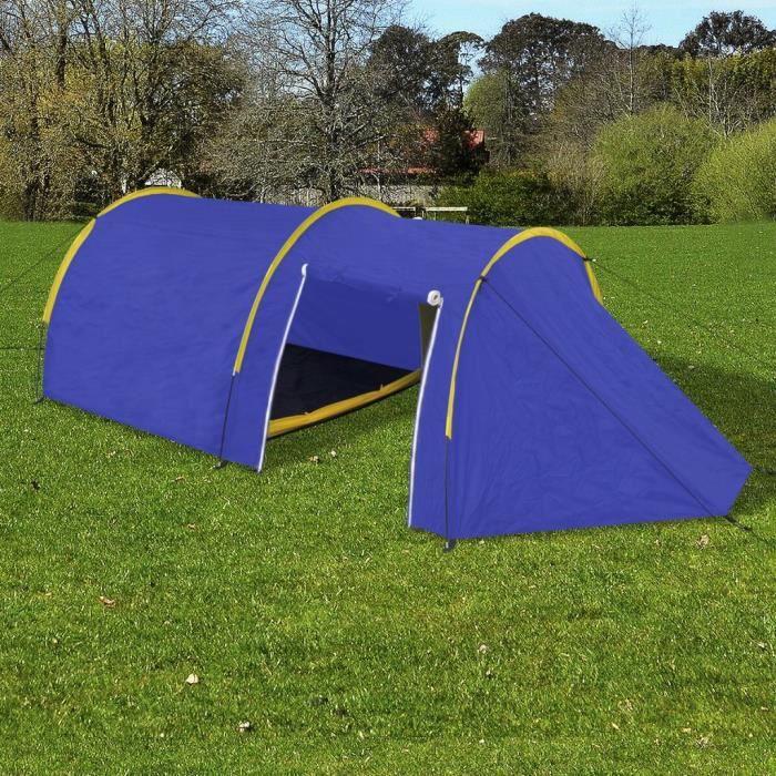 Tente de camping imperméable 4 Personnes Bleu marin-jaune-17