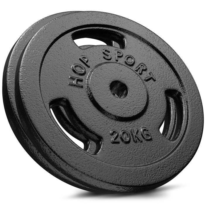 Poids Hop-Sport disques en fonte 40 kg (2 x 20 kg) 30 mm