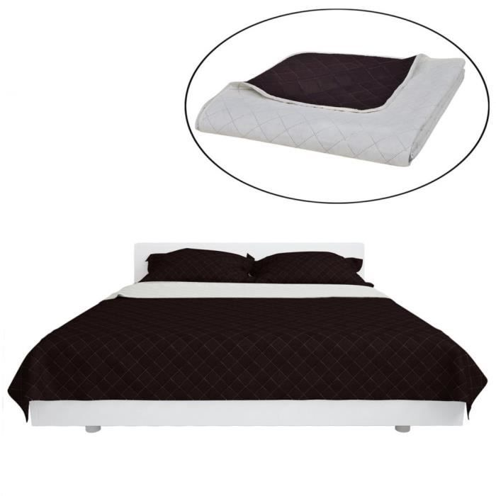 Couvre-lit à double face matelassé Beige-Marron 220x240 cm-MAD