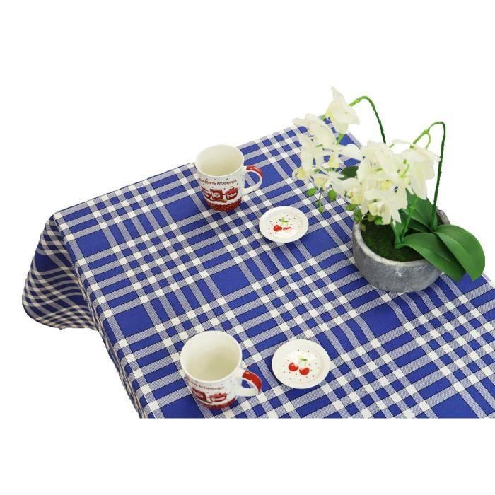 LINANDELLE Nappe tissu coton carreaux Vichy Nelly - 150 x 300 cm - Bleu roi