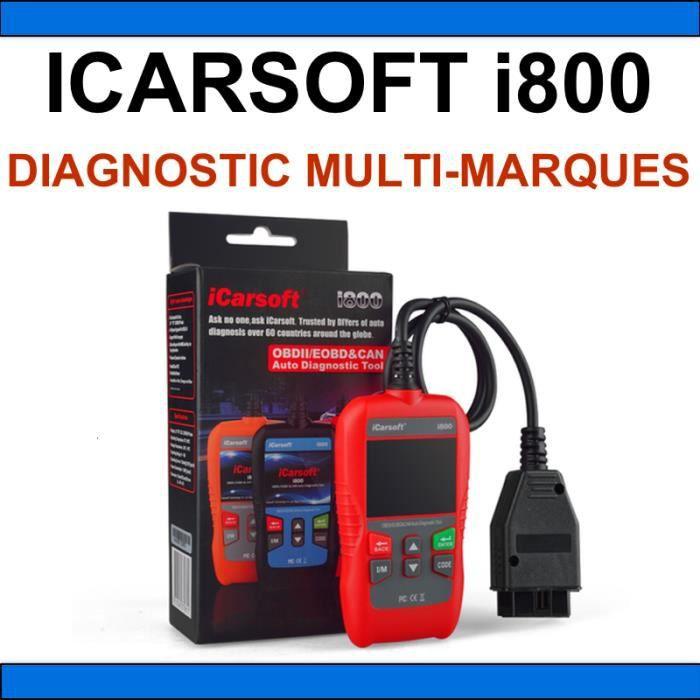★ ICARSOFT I800 ★ VALISE DIAGNOSTIC AUTO MULTIMARQUE OBD2 100% FRANCAIS ICARSOFT EU PRO