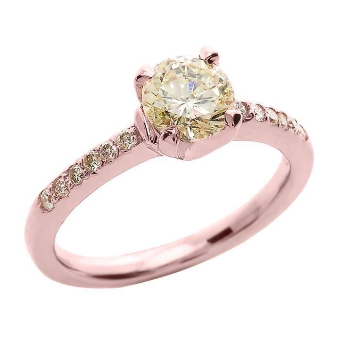 Bague Femme 14 ct Or rose 585/1000 1.0 ct Diamant Solitaire