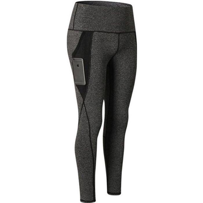 Taille Haute Femmes poche Entraînement à la Course à Pied Collants à Séchage Rapide Pantalon de Sport Legging Femme Yoga Gris