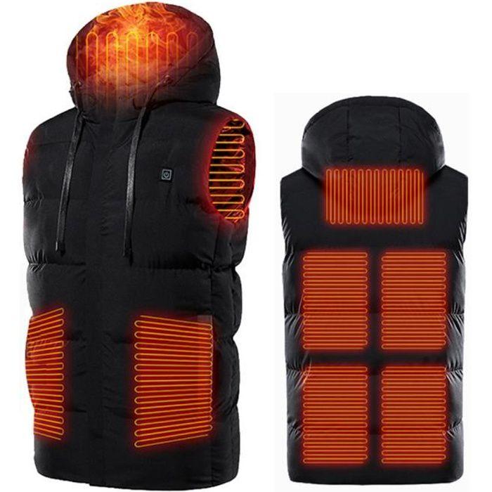 Vest Chauffante Electrique Intelligent Hiver Gilet Batterie Thermique Manteau pour Activités de Plein Air Chasse Randonnée009