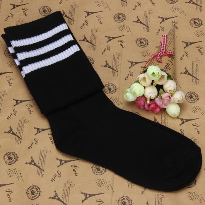 1 paire de chaussettes hautes sur le genou pour filles de football noir Chaussettes