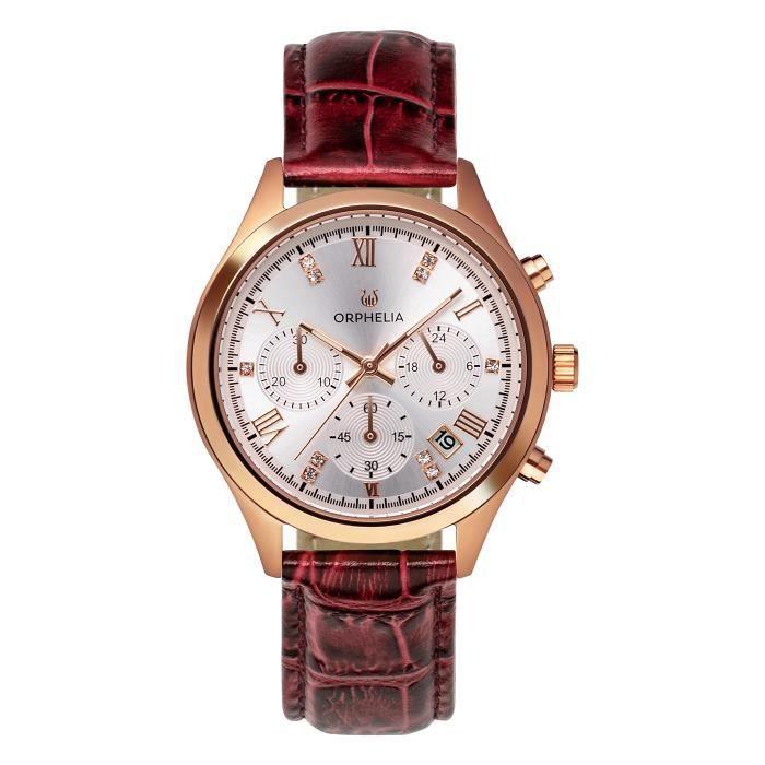 ORPHELIA - Montre Femme - Quartz Chronographe - Bracelet Cuir Bourgogne - OR31804