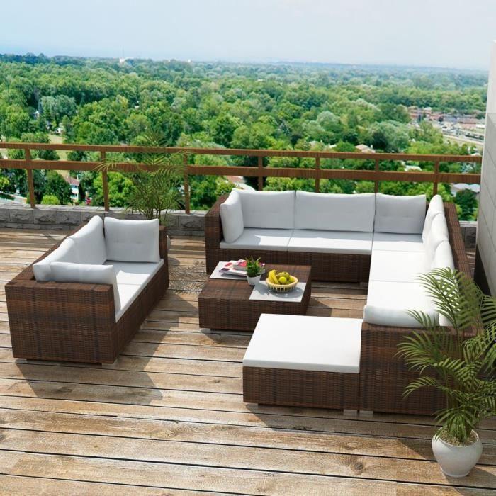 Jeu de canapés de jardin Ensemble de canapé de jardin Jeu de meuble de jardin comtemporain comfortable 32 pcs Marron Résine tressée