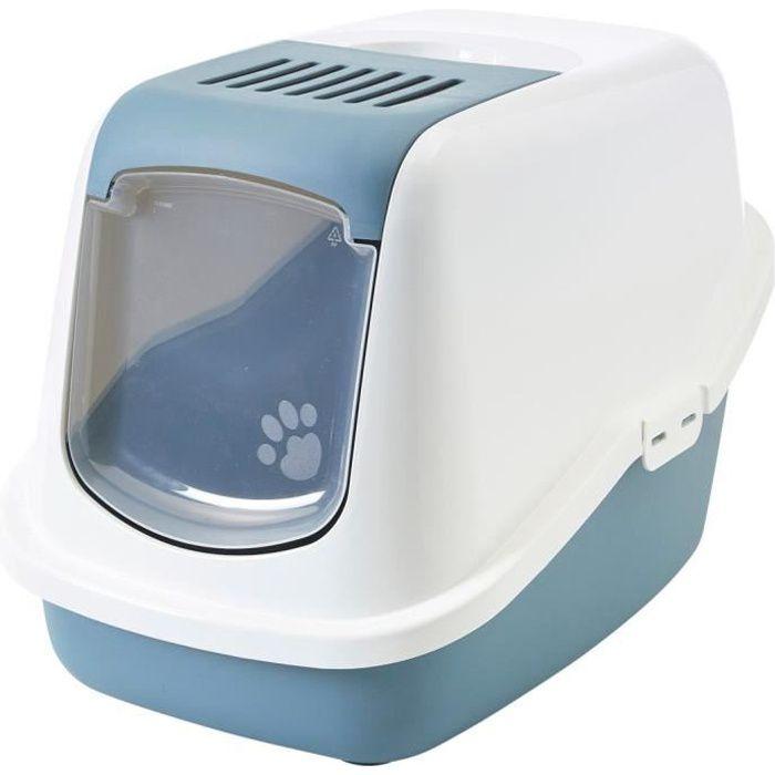 VADIGRAN Maison de toilette Nestor Earth - 56x39x38,5 cm - Bleu - Pour chat