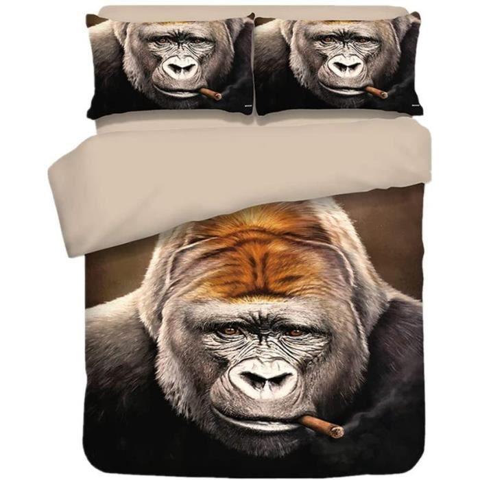 3D HD Animal Parure de lit avec, 25% Coton, Bleu Vert Caméléon Léz lanc Gorille du Tigre Housses de Couettes (Gorille, 140_x_210_cm)