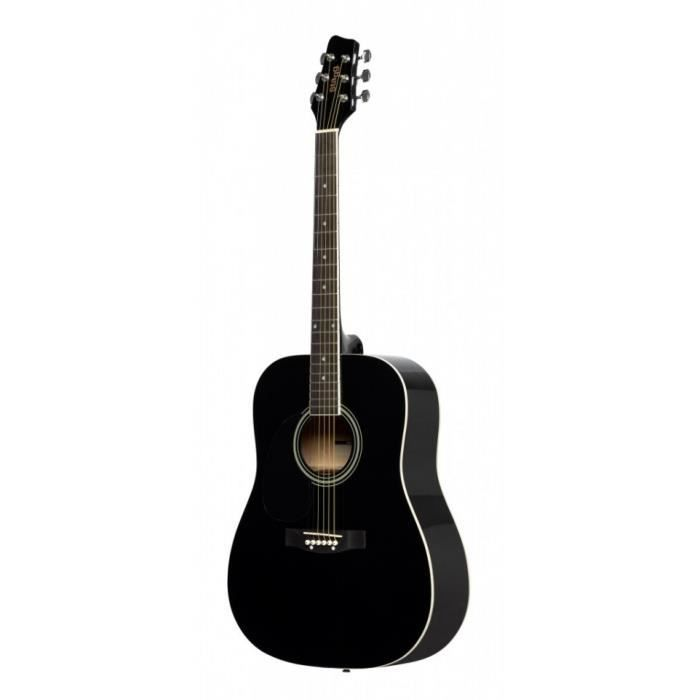 Stagg SA20D LH-BK - Guitare acoustique dreadnought 4/4 noire - gaucher