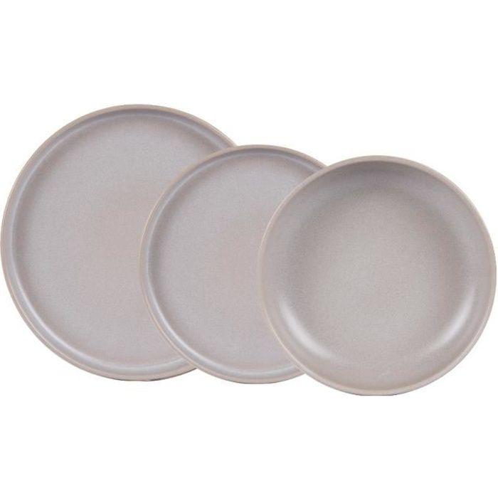 Service d'assiettes Uno gris réactif 18 pièces - Table Passion Gris