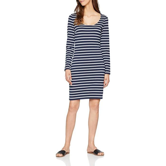 Tommy Jeans Femme BODYCON LONGSLEEVE DRESS Robe Manches Longues Moulante Multicolore (Black Iris / Bright White 902) Medium - DW0DW