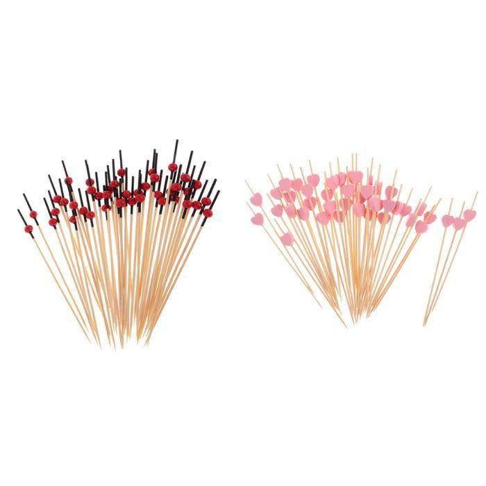 200pcs Cure-dents Alimentaire en Bambou Pics à Cocktail Coeur et Perles Fourniture Anniversaire Mariage