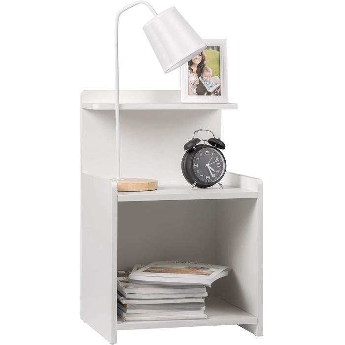WOLTU Table de Chevet avec étagère - Blanche - Table de nuit - Design Moderne en MDF 40x35x62cm