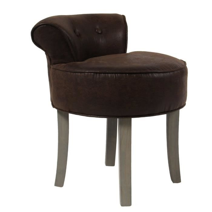 tabouret avec dossier aspect cuir vieilli coloris marron achat vente tabouret cdiscount. Black Bedroom Furniture Sets. Home Design Ideas