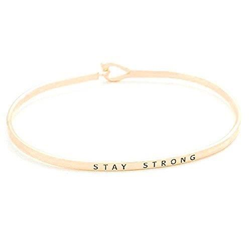 Womens Rose Gold Tone Stay Strong Thin Hook Bracelet. OJ89I